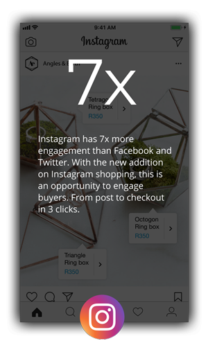 Pop-up showing the high engagement of instagram vs its competitors