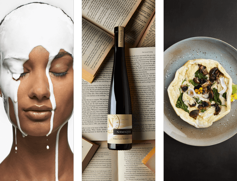 Three images of wine, women and a pastry
